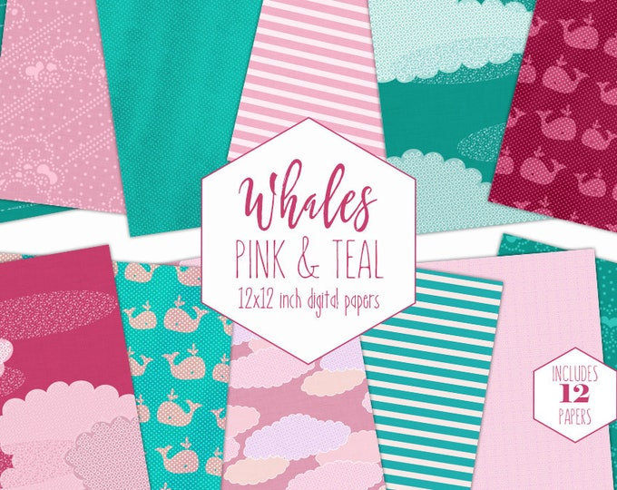 PINK WHALE Digital Paper Pack Teal Cloud Backgrounds Ocean Scrapbook Papers Nautical Stripe Patterns Party Printable Commercial Use Clipart