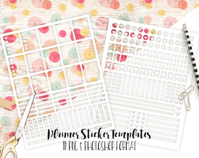 PLANNER STICKER TEMPLATES Personal Use Blank Diy Sticker Sheet Templates Life Planner Digital Stickers Erin Condren Template Photoshop & Png