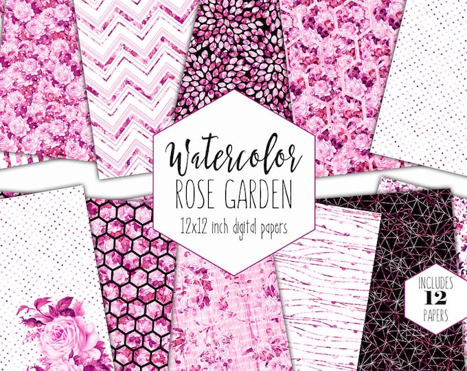 VALENTINE'S DAY ROSES Digital Paper Pack Commercial Use Pink Floral Backgrounds Watercolor Wedding Scrapbook Paper Shabby Chic Rose Patterns