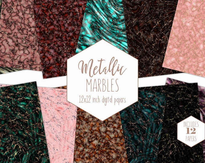 ROSE GOLD MARBLE Digital Paper Pack Commercial Use Luxe Backgrounds Agate Stone Scrapbook Papers Metallic Patterns Marbled Rock Textures