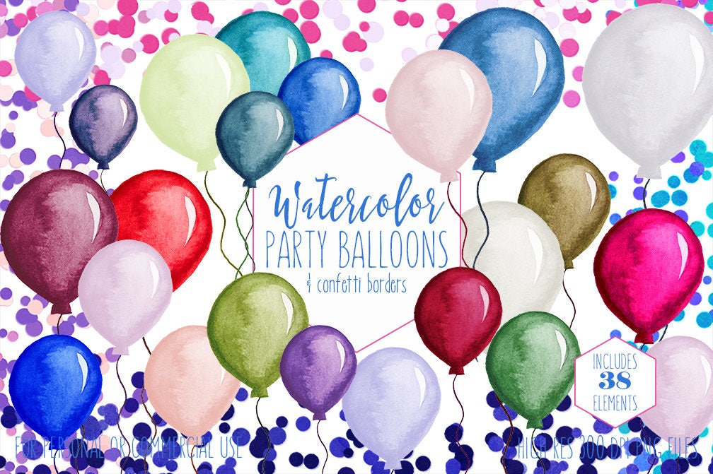 party balloons confetti clipart commercial use clip art confetti