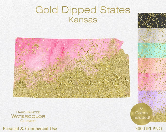 WATERCOLOR & GOLD KANSAS Clipart Commercial Use Clipart United States Shape Wedding Clipart Gold Confetti Dust Kansas State Clip Art