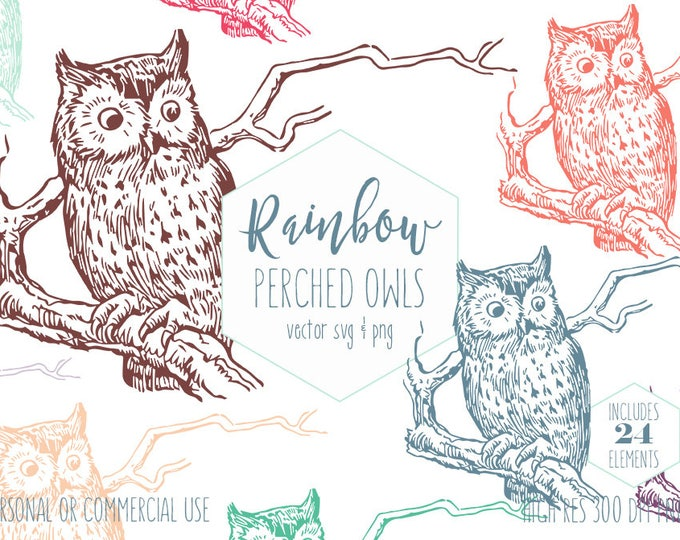 PERCHED OWL CLIPART for Commercial Use Kids Clip Art Owl Sitting on a Tree Branch Bird Images Teacher School Vector Digital Graphics Owl Svg