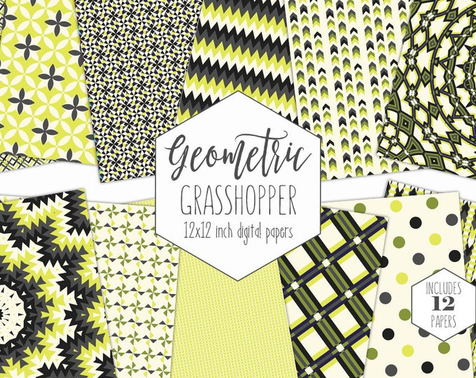 SPRING GREEN & YELLOW Digital Paper Pack Geometric Backgrounds Plaid Scrapbook Papers Mandala Knot Patterns Party Printable Commercial Use