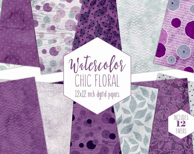 MINT & PURPLE FLORAL Digital Paper Pack Commercial Use Flower Backgrounds Wedding Scrapbook Papers Watercolor Chevron Leaf Dot Lace Patterns