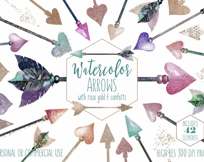 WATERCOLOR ARROW CLIPART Commercial Use Clip Art 42 Metallic Feather Arrow Graphics Rose Gold Tribal Images Pink Feather Watercolour Arrows