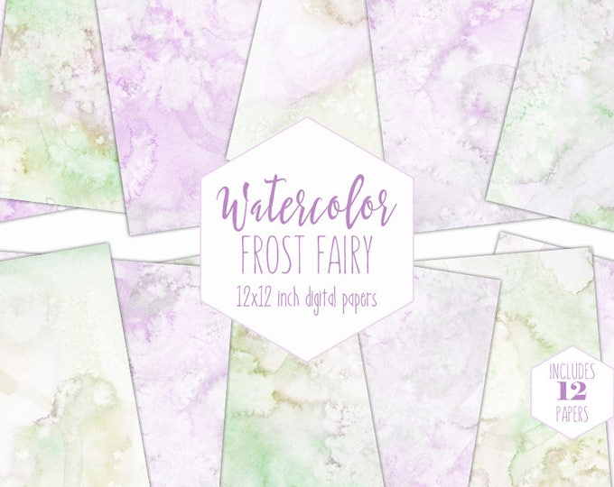 PASTEL WATERCOLOR Digital Paper Pack Commercial Use Backgrounds Blush pink & Spring Green Scrapbook Papers Watercolor Textures Baby Clipart