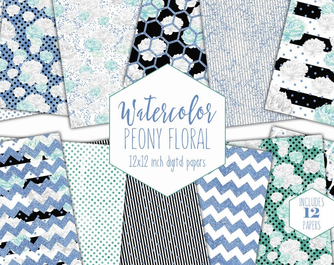 WATERCOLOR PEONY FLORAL Digital Paper Pack Commercial Use Mint & Baby Blue Backgrounds Peonies Scrapbook Papers Watercolour Striped Patterns