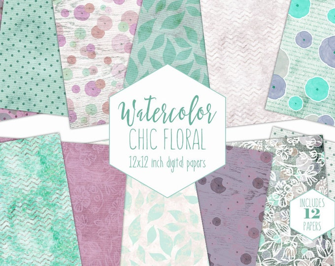 PURPLE & MINT FLORAL Digital Paper Pack Commercial Use Flower Backgrounds Watercolor Roses Scrapbook Papers Chevron Wood Dots Lace Patterns