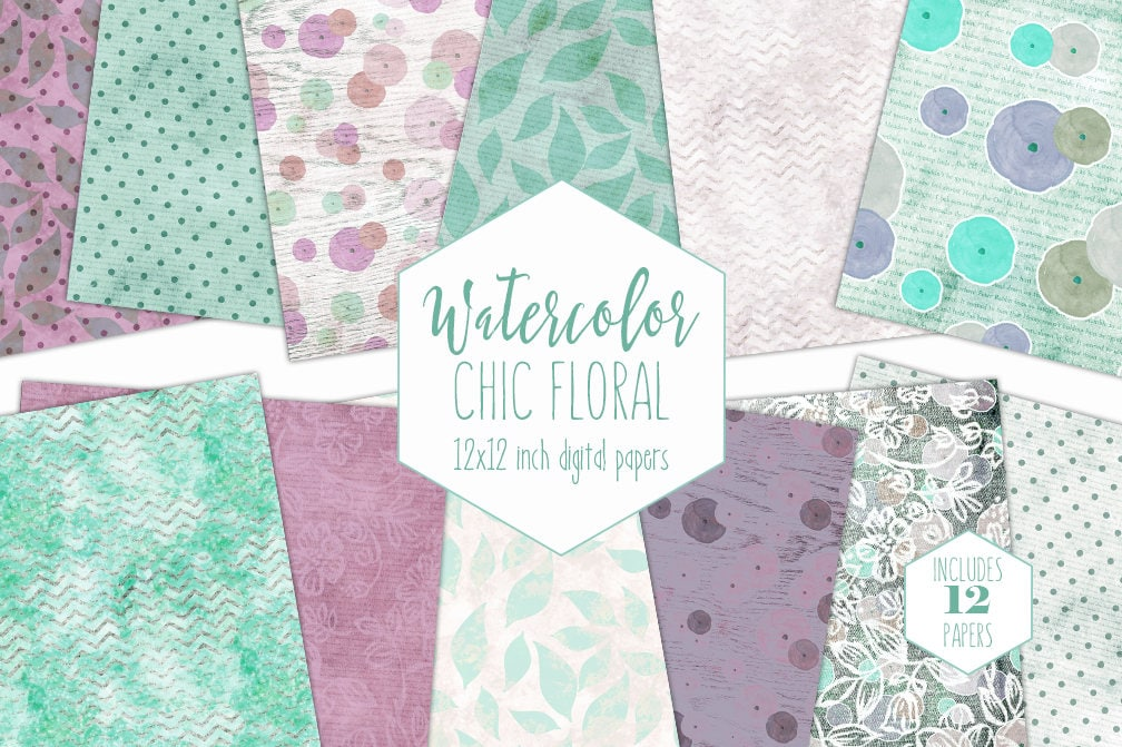 Purple Mint Floral Digital Paper Pack Commercial Use Flower Backgrounds Watercolor Roses Scrapbook Papers Chevron Wood Dots Lace Patterns