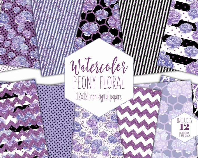 PURPLE WATERCOLOR FLORAL Digital Paper Pack Commercial Use Peony Flower Backgrounds Ultra Violet Scrapbook Papers Modern Metallic Patterns