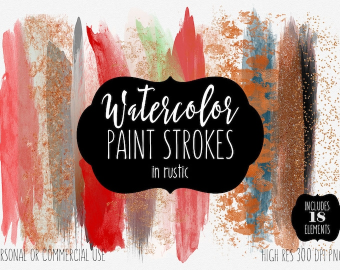 RUSTIC BRUSH STROKES Clip Art Commercial Use Clipart Watercolor Paint Strokes Rust Red Copper & Rose Gold Metallic Watercolour Logo Graphics