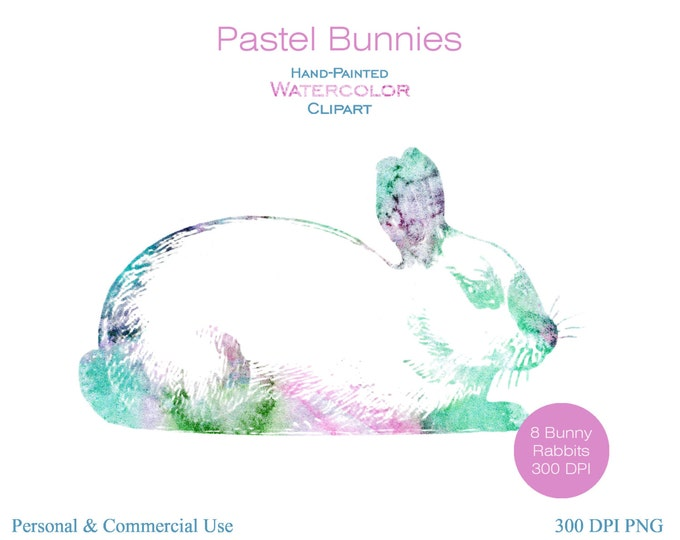 WATERCOLOR EASTER BUNNY Clipart Commercial Use Clipart Fun Pastel Watercolor Rabbits Clipart 8 Watercolor Bunnies Easter Digital Stickers