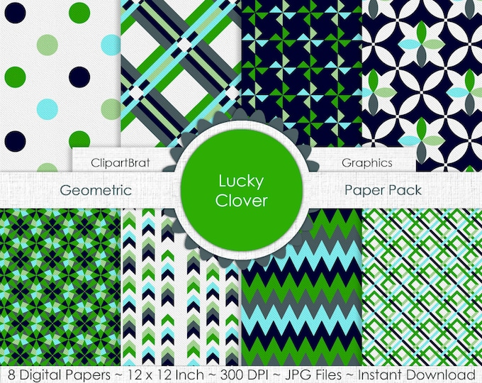 LUCKY CLOVER St. Patrick's Day Digital Paper Pack Commercial Use Digital Paper Gray Navy & Kelly Green Digital Background Paper Backgrounds