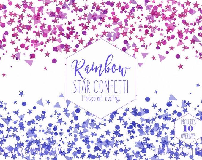 STAR CONFETTI OVERLAY Clipart for Commercial Use Invitation Clip Art Purple & Blue Confetti Borders Kids Birthday Party Digital Graphics