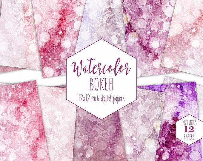 BLUSH & BURGUNDY WATERCOLOR Digital Paper Pack Commercial Use Backgrounds Mauve Pink Bokeh Scrapbook Papers Bubble Dots Watercolour Textures