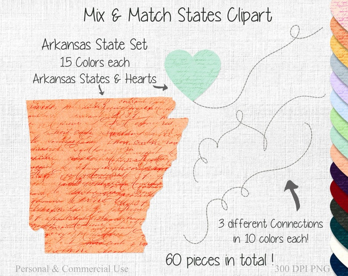ARKANSAS STATE to STATE Clipart Commercial Use Clipart Mix & Match States Wedding Clipart Arkansas Map 2 States Connected State Map Clipart