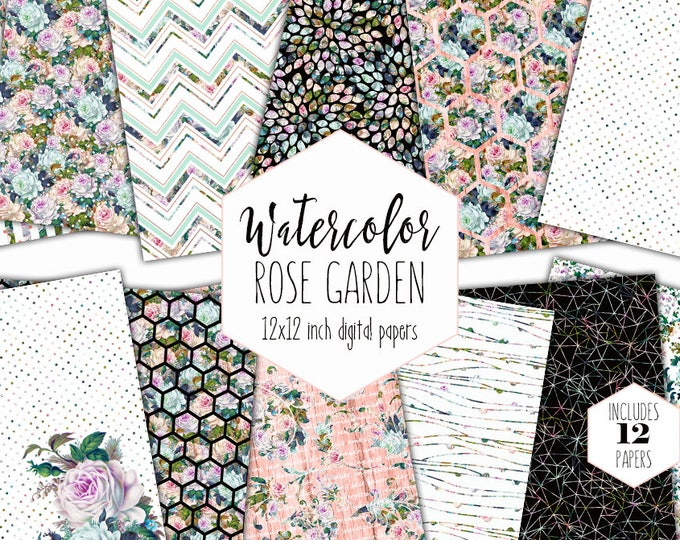 PEACH WATERCOLOR FLORAL Digital Paper Pack Commercial Use Backgrounds Mint Roses Scrapbook Papers Shabby Chic Wood Hexagon Dot Patterns