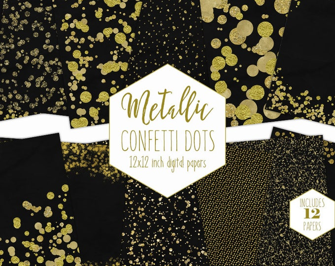 GOLD FOIL & BLACK Digital Paper Pack Confetti Dot Backgrounds Metallic Gold Scrapbook Papers Wedding Patterns Party Printable Commercial Use
