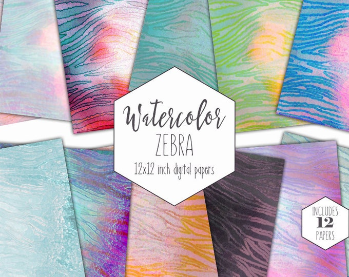 ZEBRA STRIPES Digital Paper Pack Commercial Use Animal Print Backgrounds Rainbow Watercolor Zebra Scrapbook Papers Party Printable Patterns
