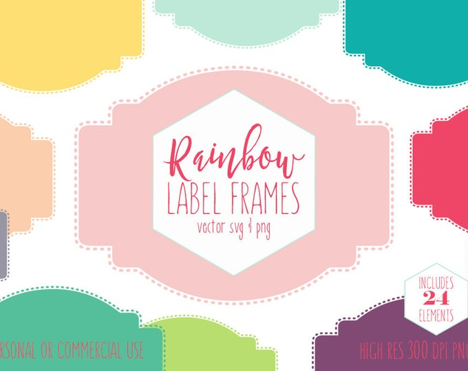 LABEL FRAMES CLIPART for Commercial Use Planner Clip Art Rainbow Colors Stitched Border Labels Bookplate Name Tag Digital Vector Graphics