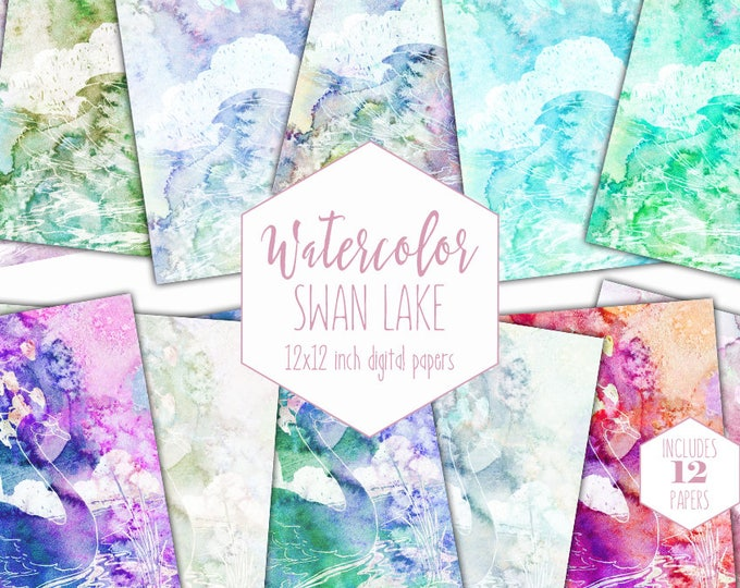 WATERCOLOR SWAN Digital Paper Pack Commercial Use Bird Backgrounds Elegant Scrapbook Papers Watercolour Clipart Wedding Printable Patterns