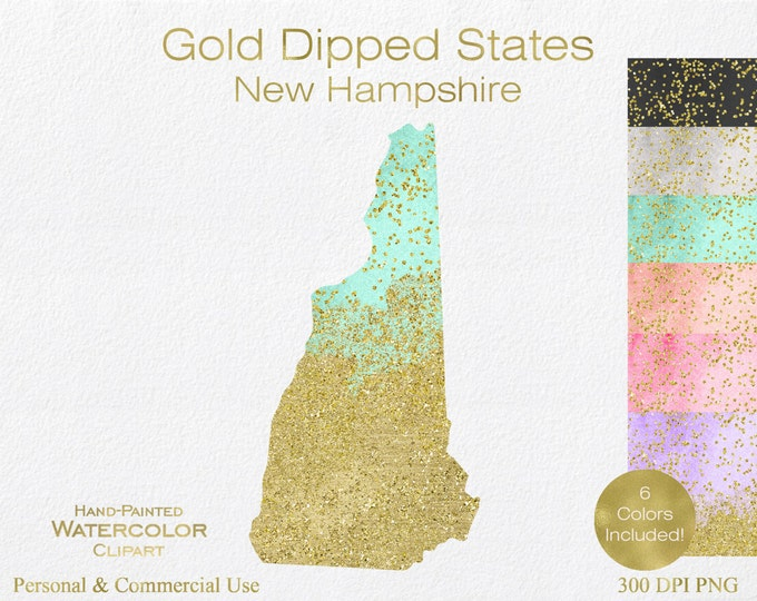 WATERCOLOR & GOLD New Hampshire Clipart Commercial Use Clipart United States Shape Wedding Clipart Gold Confetti Dust New Hampshire Clip Art