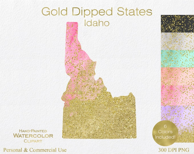 WATERCOLOR & GOLD IDAHO Clipart Commercial Use Clipart United States Shape Wedding Clipart Gold Confetti Dust Idaho State Clip Art