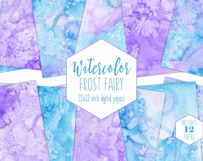 BLUE & PURPLE WATERCOLOR Digital Paper Commercial Use Backgrounds Scrapbook Paper Frost Fairy Lavender Hand Painted Real Watercolor Papers