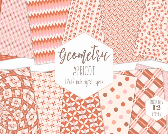 BLUSH & PEACH Digital Paper Pack Mandala Backgrounds Pink Geometric Scrapbook Papers Plaid Patterns Party Printable Commercial Use Clipart