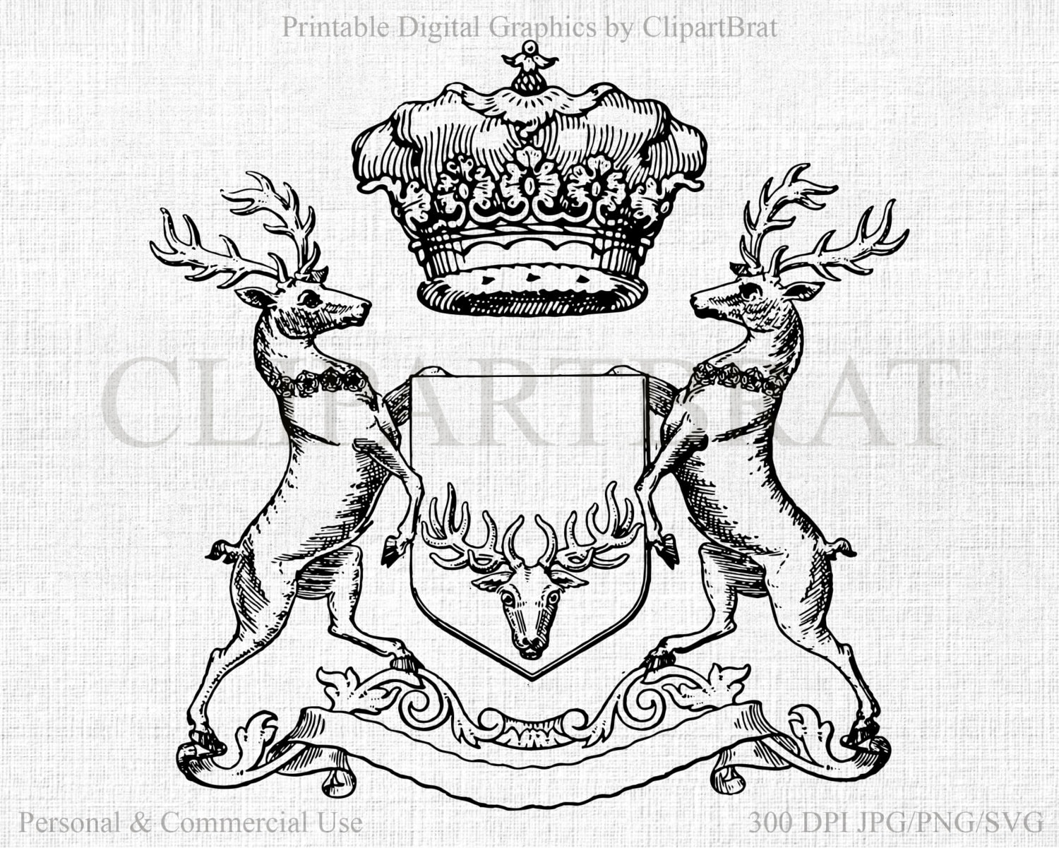 crown deer clipart commercial use clipart antique deer digital