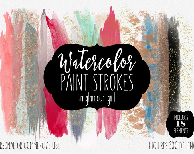 WATERCOLOR & ROSE GOLD Brush Strokes Clipart Commercial Use Clip Art Pink Glamour Paint Strokes Blog Headers Metallic Confetti Logo Graphics