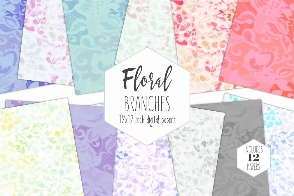 Pastel Spring Floral Digital Paper Pack Flower Branches Vine Backgrounds Rainbow Scrapbook Papers Garden Patterns Party Printable Clipart