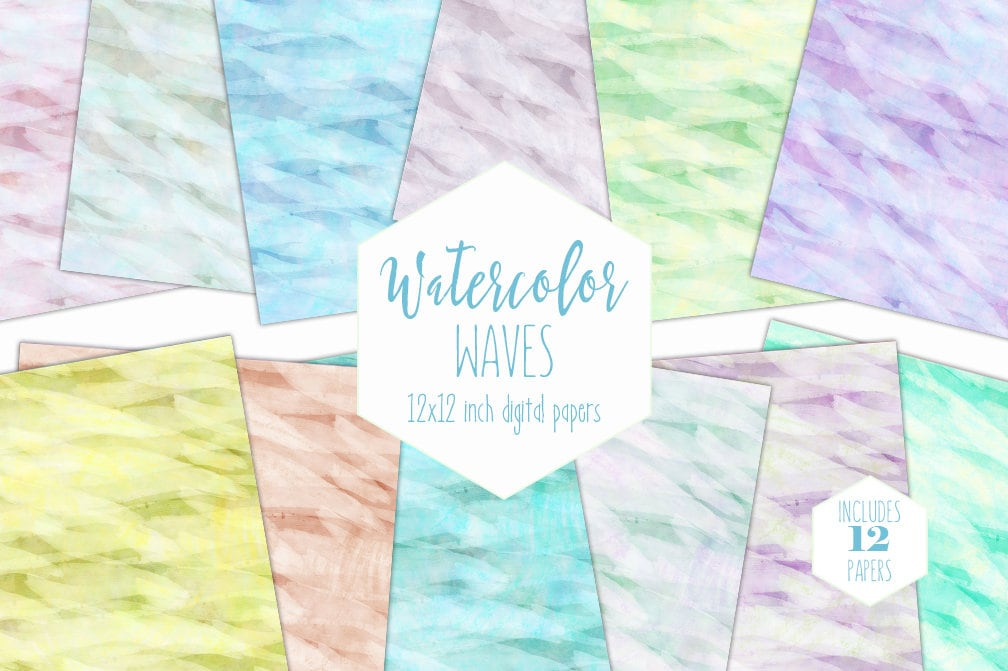 graphic about Printable Textures referred to as RAINBOW WATERCOLOR Electronic Paper Pack Gentle