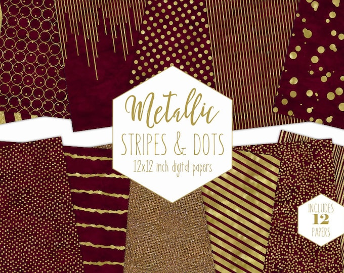 BURGUNDY & GOLD FOIL Digital Paper Pack Stripe Backgrounds Metallic Confetti Scrapbook Paper Polka Dot Chic Wedding Patterns Party Printable