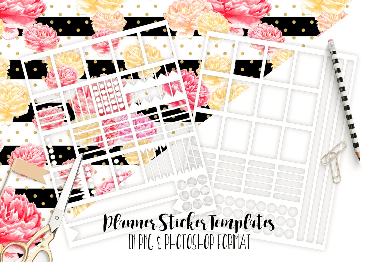 PLANNER STICKER TEMPLATES Personal Use Blank Diy Sticker Templates - Sticker layout template