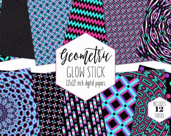 BLACK LIGHT Digital Paper Pack Neon Pink Backgrounds Geometric Arrow Scrapbook Papers Bold Mandala Patterns Party Printable Commercial Use