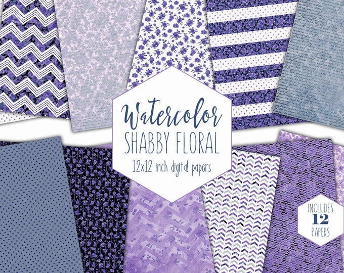 PURPLE FLORAL STRIPE Digital Paper Pack Commercial Use Blue Watercolor Flower Backgrounds Shabby Chic Scrapbook Papers Cute Chevron Patterns