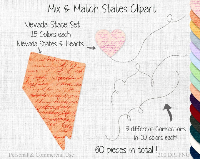 STATE to STATE Wedding Clipart Commercial Use Clipart Mix & Match 2 States Connected NEVADA Map Clipart Two States Love Heart Maps