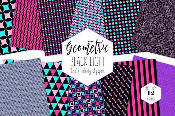 RETRO PARTY Digital Paper Pack Neon Pink Purple Black