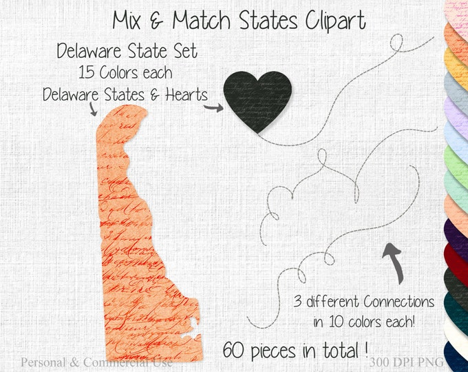 DELAWARE STATE to STATE Clipart Commercial Use Clipart Mix & Match States Wedding Clipart Delaware Map 2 States Connected State Valentine