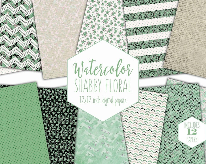 MINT GREEN FLORAL Digital Paper Pack Commercial Use Greenery Watercolor Flower Backgrounds Spring Scrapbook Paper Shabby Chic Dot Patterns
