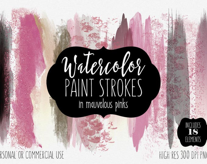 MAUVE PINK WATERCOLOR Brush Stroke Clipart Commercial Use Clip Art Watercolor Paint Blog Header Blush Pink Rose Gold Confetti Logo Clip Art