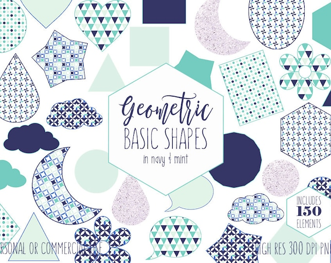 CUTE SHAPES CLIPART for Commercial Use Planner Sticker Clip Art Navy Blue Blush & Mint Clouds Moons Triangles Stars Teacher Digital Graphics