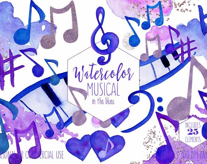WATERCOLOR MUSIC Clipart Commercial Use Clip Art Royal Blue Purple Music Notes Treble Clef Piano Keys Fun Watercolour Paint Splash Graphics