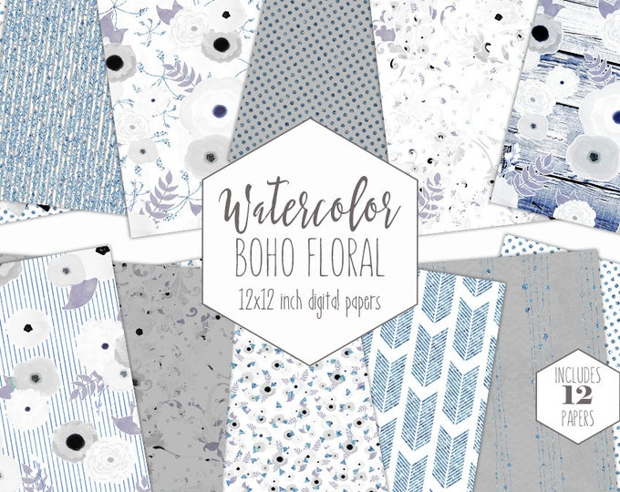 BLUE WATERCOLOR FLORAL Digital Paper Pack Gray Silver Metallic Commercial Use Backgrounds Shabby Chic Wood Scrapbook Winter Wedding Patterns