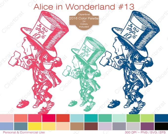 ALICE IN WONDERLAND Clipart Commercial Use Clipart The Mad Hatter Graphic 2016 24 Color Palette John Tenniel Digi Stamp Vector Png Eps Svg