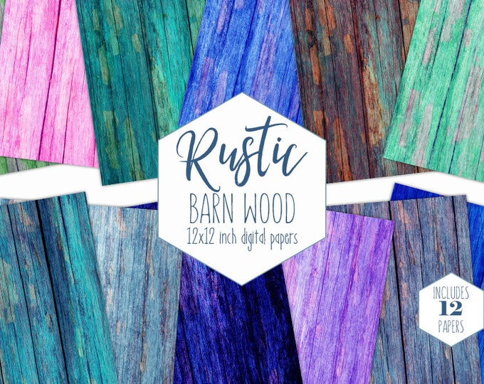 RAINBOW WOOD Digital Paper Pack Painted Barn Wood Backgrounds Rustic Wood Grain Scrapbook Papers Chipped Paint Wood Textures Commercial Use