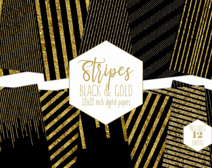 BLACK & GOLD STRIPE Digital Paper Pack Gold Metallic Backgrounds Gold Foil Scrapbook Papers Striped Patterns Party Printable Commercial Use