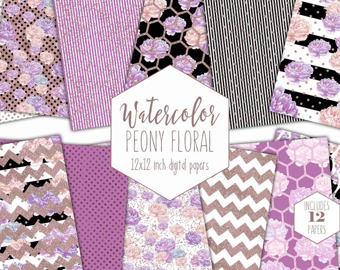 PURPLE WATERCOLOR PEONY Digital Paper Pack Blush Pink & Rose Gold Metallic Commercial Use Backgrounds Stripes Dots Floral Scrapbook Patterns